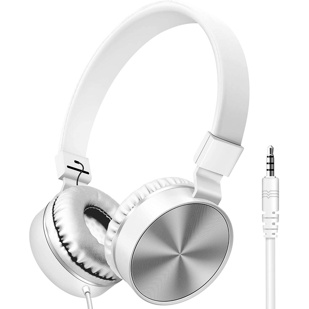 On-Ear Headphones with Built-in Mic, Adjustable Headband, Soft Ear Cushioned Pads, Foldable Design, for Phone or Computer Use (Matte White)