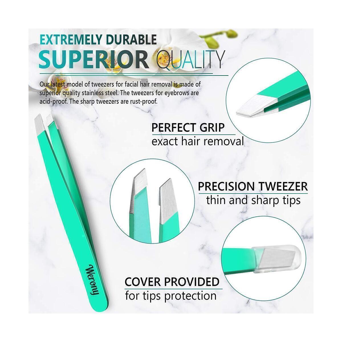 Tweezers for Women - Slant Tweezers - NEW COLOR - Premium Tweezers Precision - Professional Eyebrow Tweezers - Durable Tweezer for Facial Hair Removal and Brow Shaping - Perfect gift