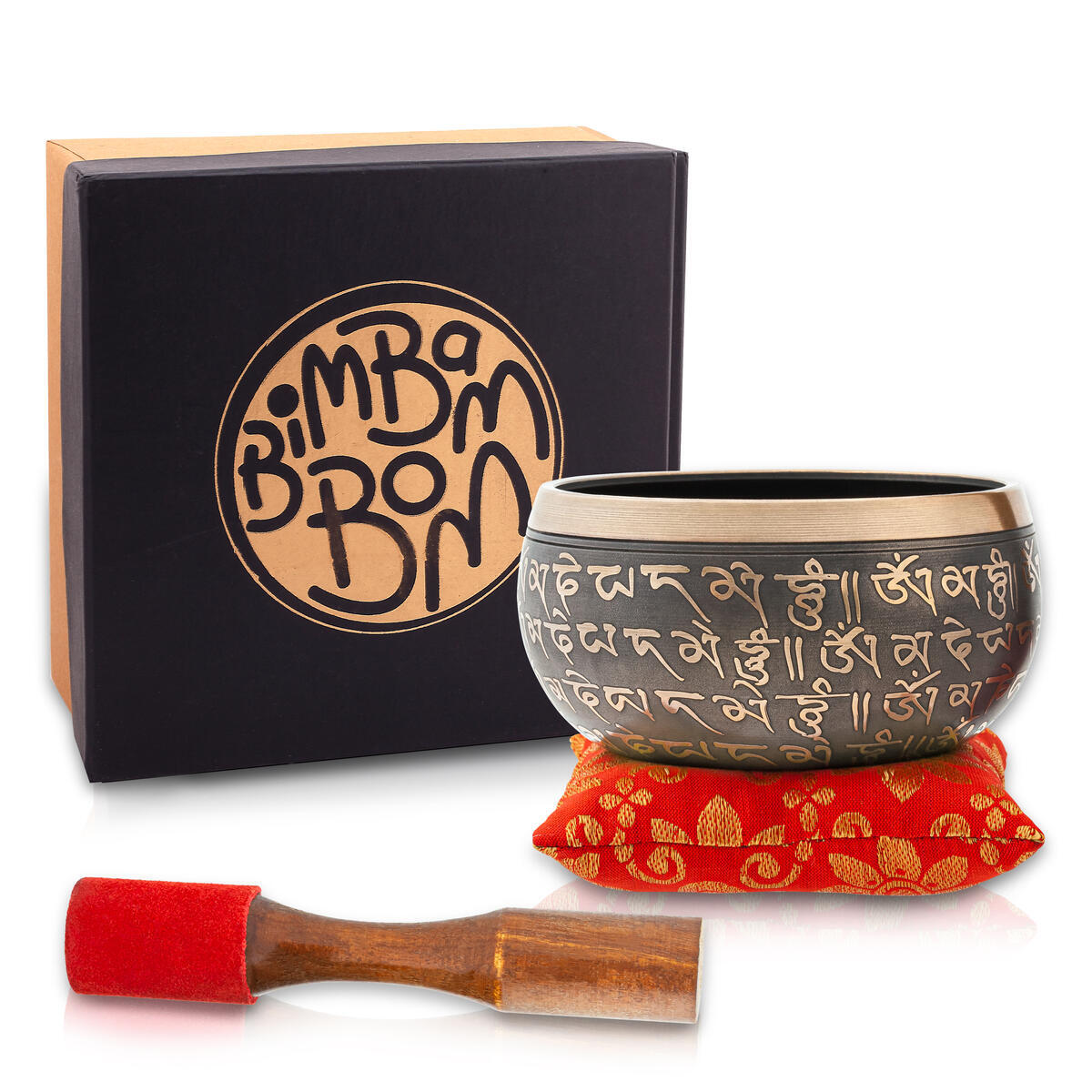 """Tibetan Singing Bowl – Bronze Mantra Antique Hand Crafted Chakra Singing Bowl Set with Mallet & Cushion – Brass 4"""" Sound Therapy Bowl for Meditation, Yoga & Gift – Mantra Antique Prayer Bowl with Deep Sound by Bim–Bam–Bom"""