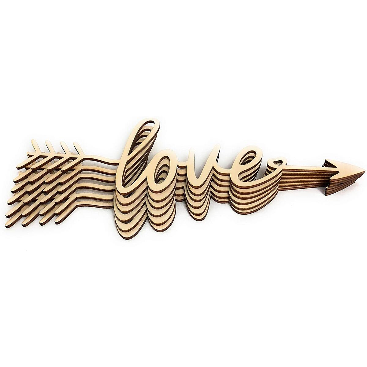 SDF ART - Love Wooden Sign - Wall Décor - Home Decoration for Living Room Bedroom - Rustic Wood Decor (Love, 12