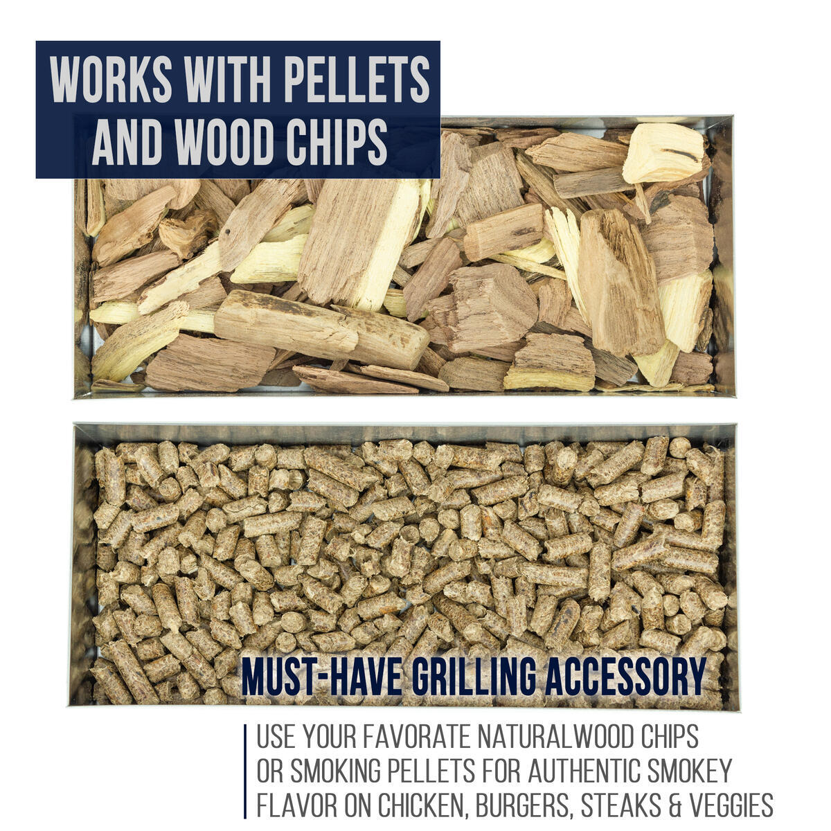 Smoker Box for Gas Grills and Charcoal Kettles - Works with All Pellets and Wood Chips - Professional BBQ Smoke Flavor from Propane or Electric Grilling