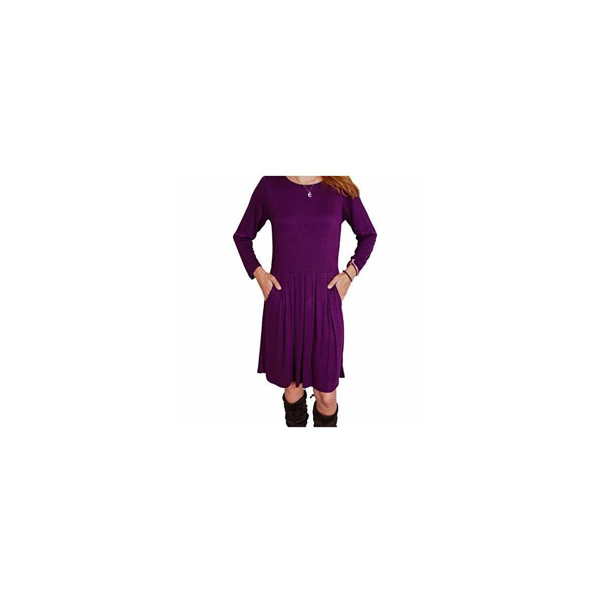 Happy Trunks Women's T-shirt Dress Long Sleeve Pleated Loose