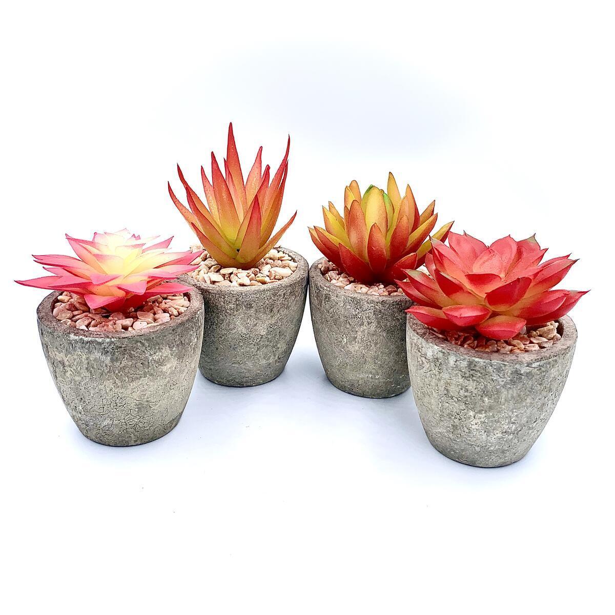SET OF 4 Lbee Home Artificial Mini Plants - Tropical Colors