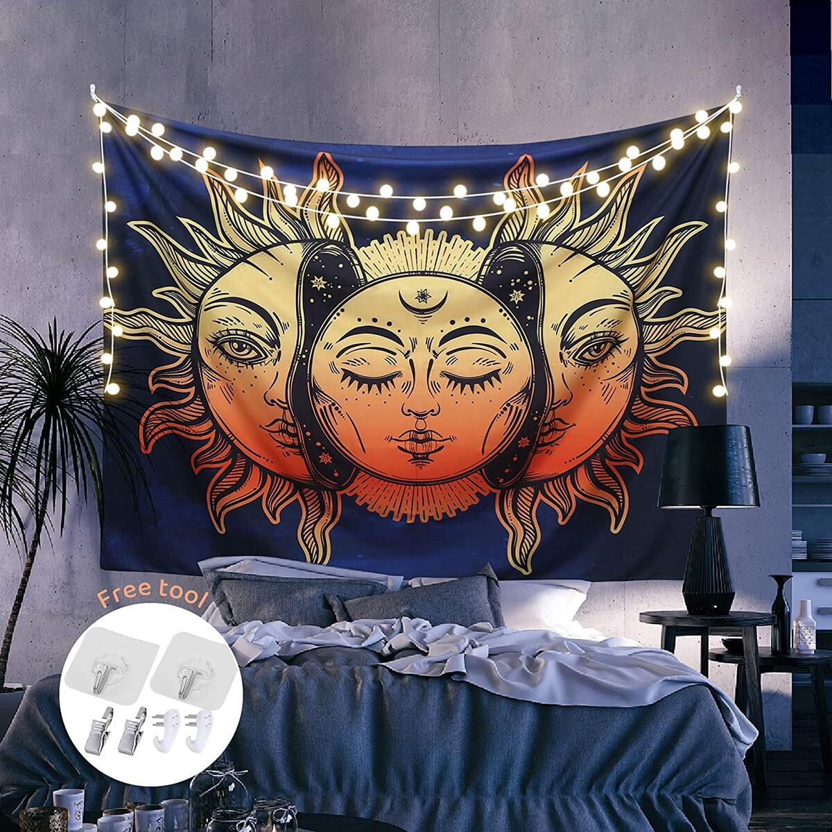 ARGIGU Sun and Moon Tapestry, Burning Sun with Stars Psychedelic Popular Mystic Wall Hanging Tapestry For Bedroom Aesthetic (78.7 x 59in)