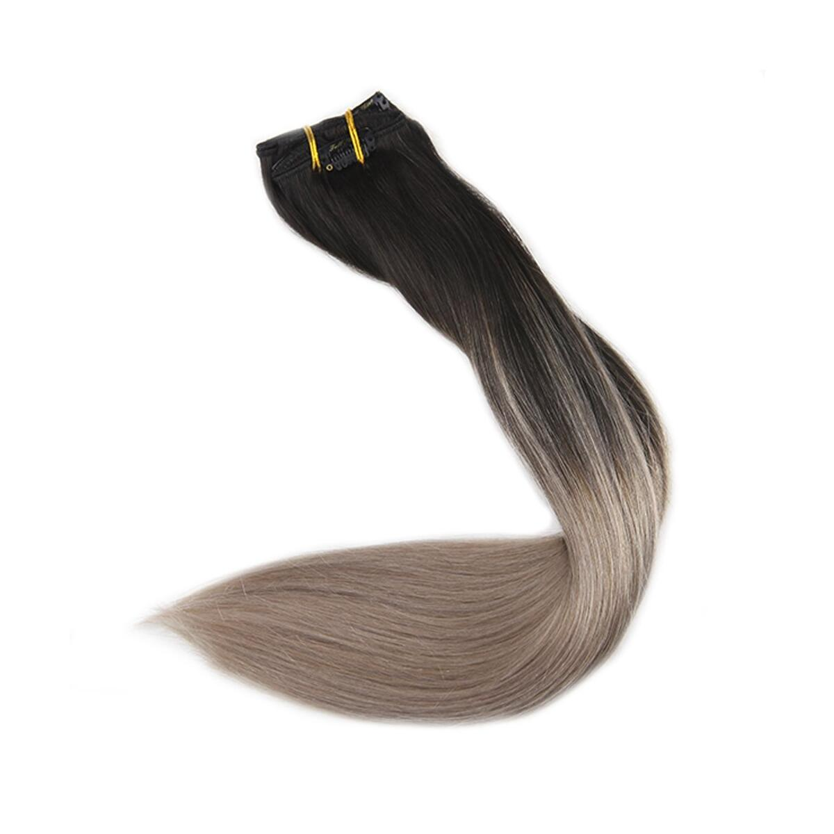 Fshine Clip In Human Hair Extensions 14 Inch 5 Pcs Double Weft Clip In Hair Extensions Balayage Color 1B Fading to 18 Ash Blonde Clip In Remy Hair 120 Gram Per Set