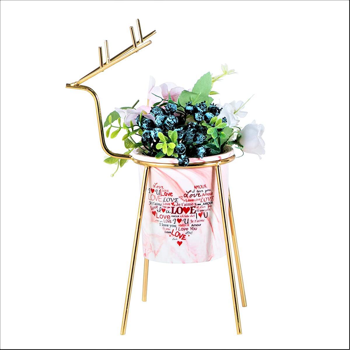 Succulent Planter - 3.8 Inch, Pink Mini Plant Pot with Stand, Small Decorative Cute Succulent Pot, Modern Bathroom Bedroom Decor, Christmas Dining Table Centerpiece, Macetas para Plantas Decorativas