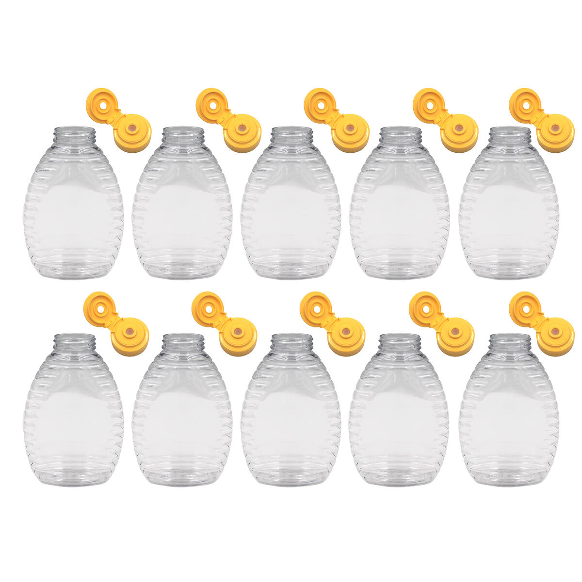 Alpha Additions Plastic Honey Bottle Jars | 10 Pack 16oz Reusable Plastic Honey Squeeze Bottle