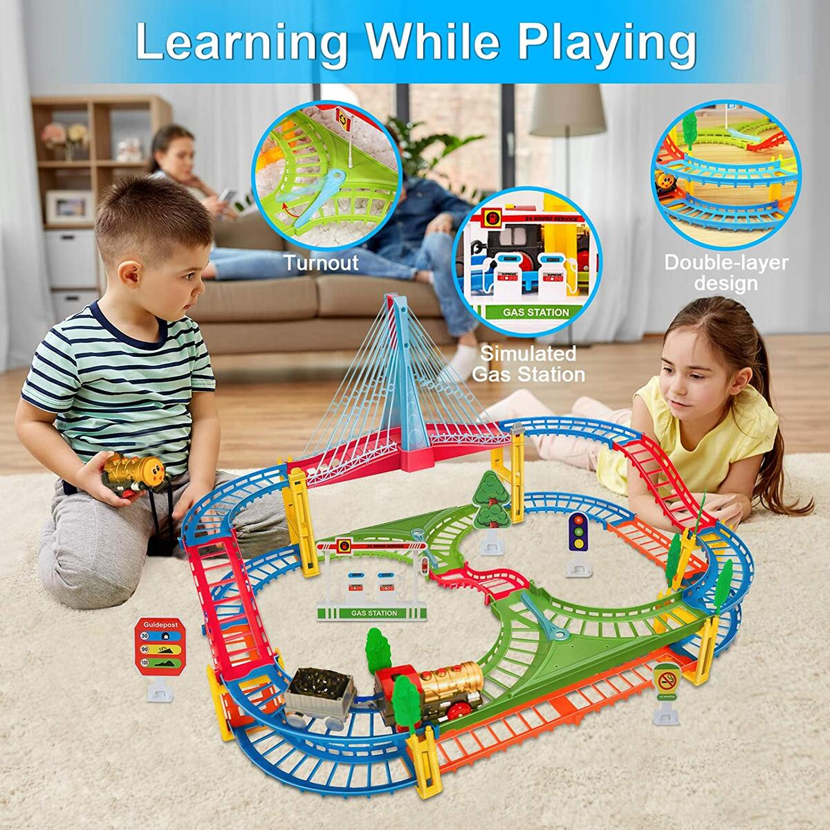BeebeeRun Kids Car Race Track Set, Flexible Train Tracks for Toddlers with Musical Bridge and LED Electric Train Set, Car Track Toys for Boys and Girls