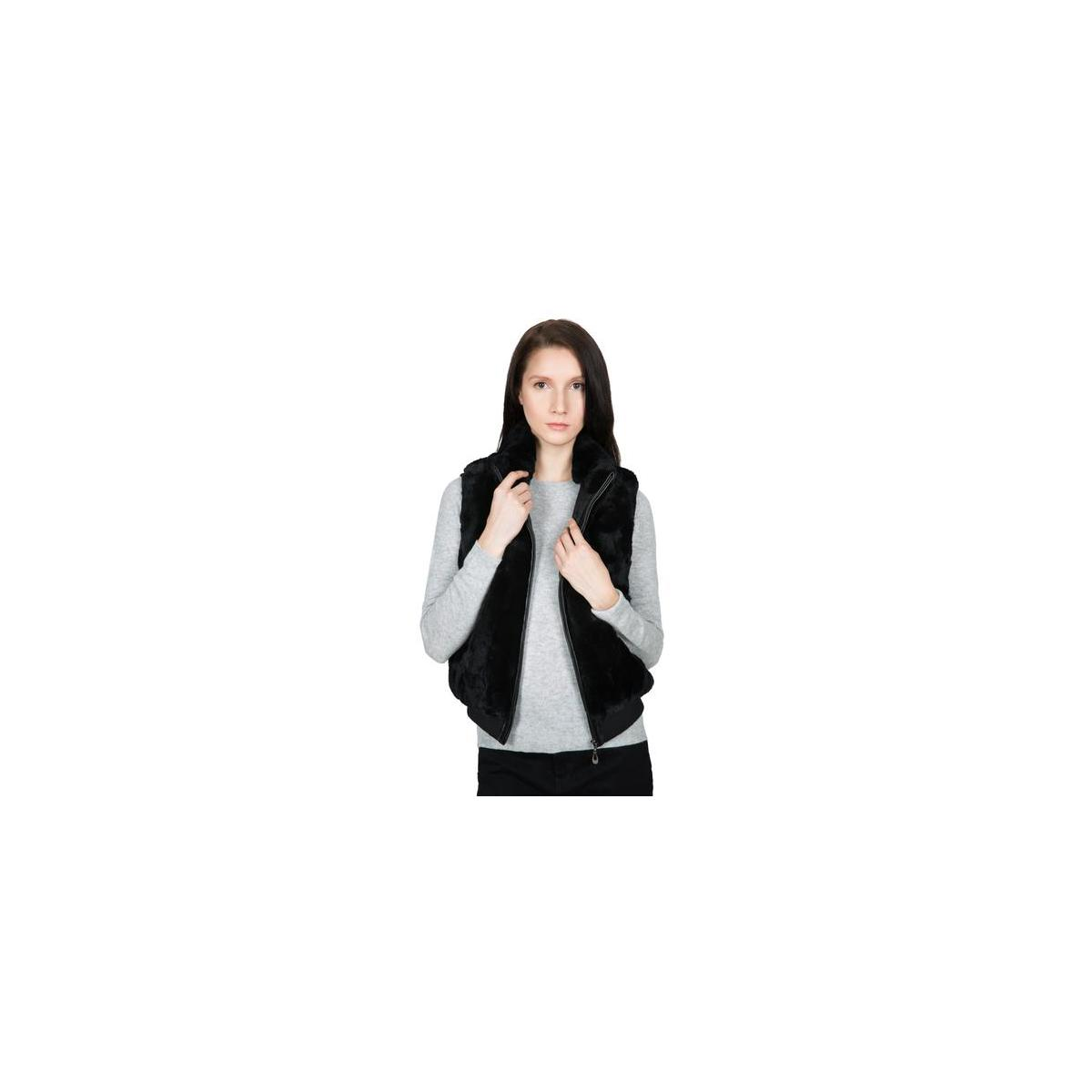 Women's 100% Real Rex Rabbit Fur Vest - Warm Sleeveless Fur Jacket with Zipper and Genuine Leather Accent