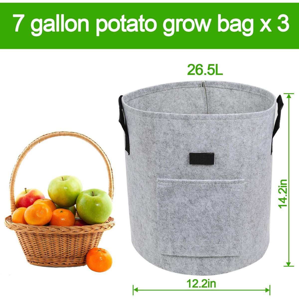 Grow Bags 3-Pack 7 Gallon Smart Potato Bags Velcro Window Vegetable Bags with Handles, Premium Breathable Nonwoven Fabric Pots/Plant Container for Potato, Carrot, Onion (3-Pcs Plant Labels, Gray)
