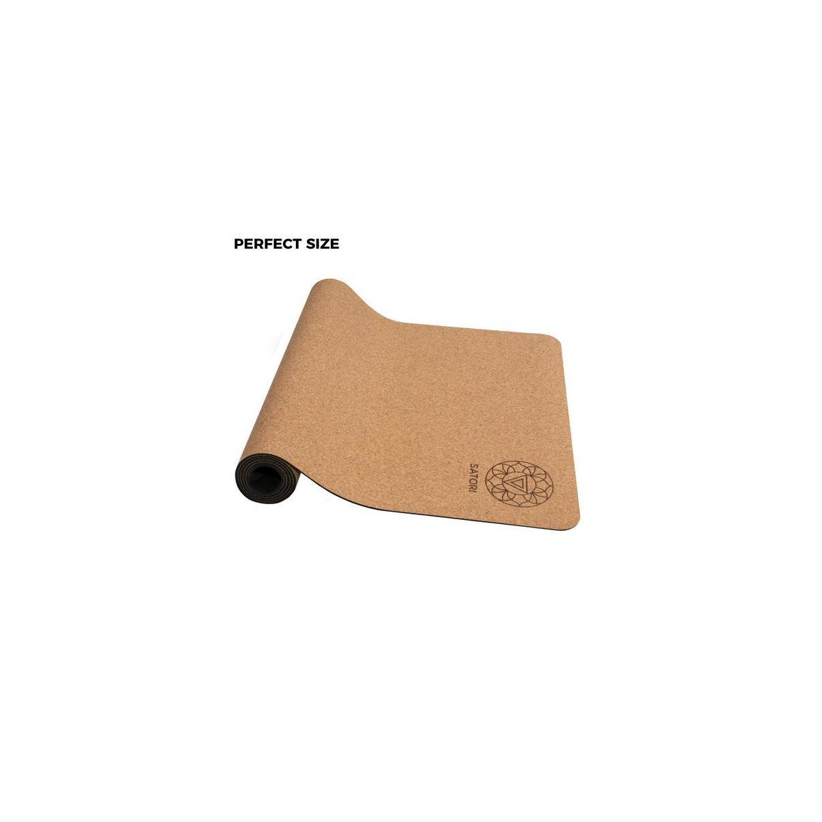 """SatoriConcept Cork Yoga Mat - 100% Eco Friendly Cork & Rubber, Lightweight with Perfect Size (72"""" x 24"""") and 4mm Thick, Non Slip, Sweat-Resistant, Innovative Exercise Mat for Hot Yoga, Outdoor Fitness"""