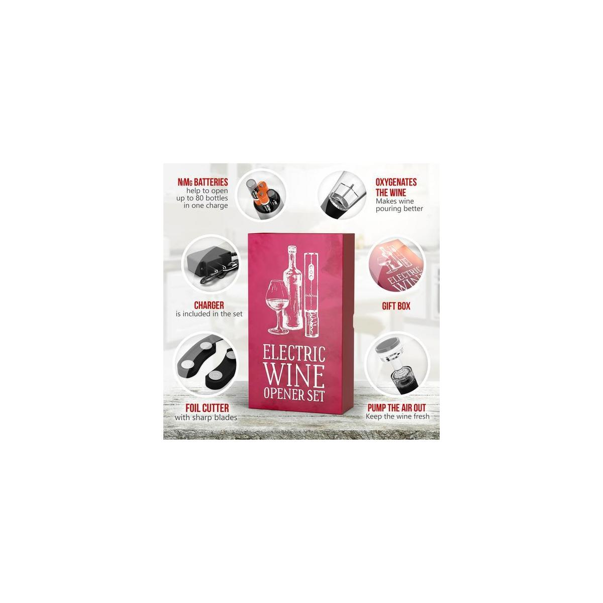 Electric Wine Opener with Charger - Wine Lover Gift Set - Summer Holiday Birthday Wedding Kit with Batteries and Foil Cutter Uncle Viner G105
