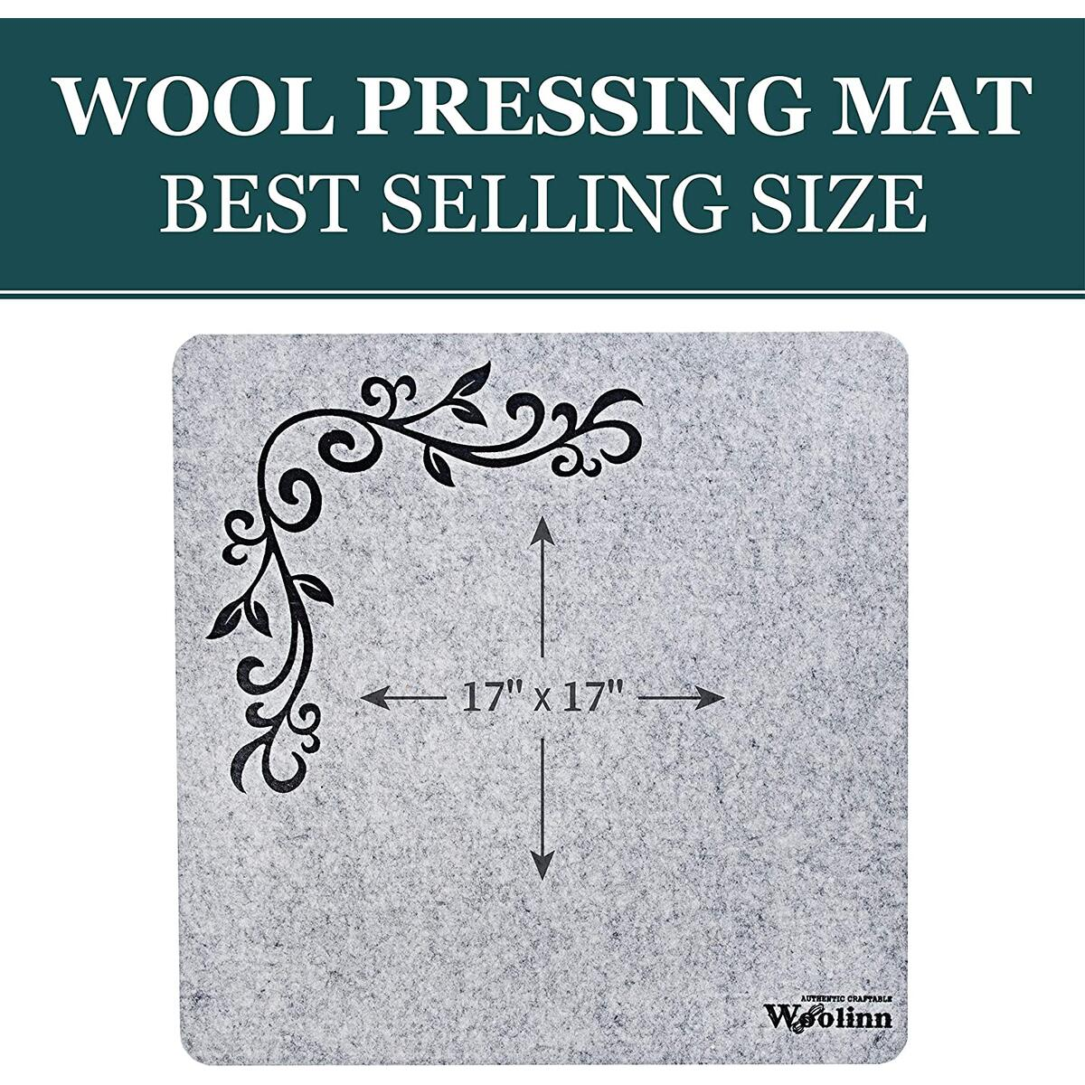 """Wool Pressing Mat for Quilting, 17"""" x 17"""", Felt Ironing Pad 1/2"""