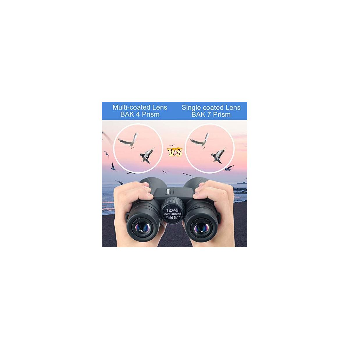 12x42 Roof Prism Binoculars for Adults, Portable and Waterproof Compact Binoculars with Low Light Night Vision, BAK4 Prism FMC Lens HD Clear View for Bird Watching, Hunting, Travel