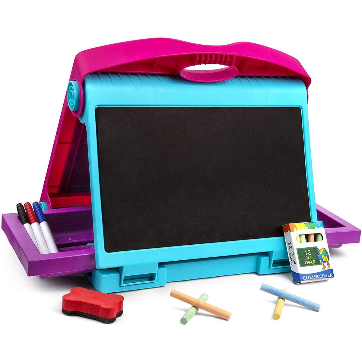 Art Double Sided Tabletop Art Easel for Kids - 2-in-1 Dry Erase Board and Chalkboard, Great Coloring Easel for Boys and Girls.