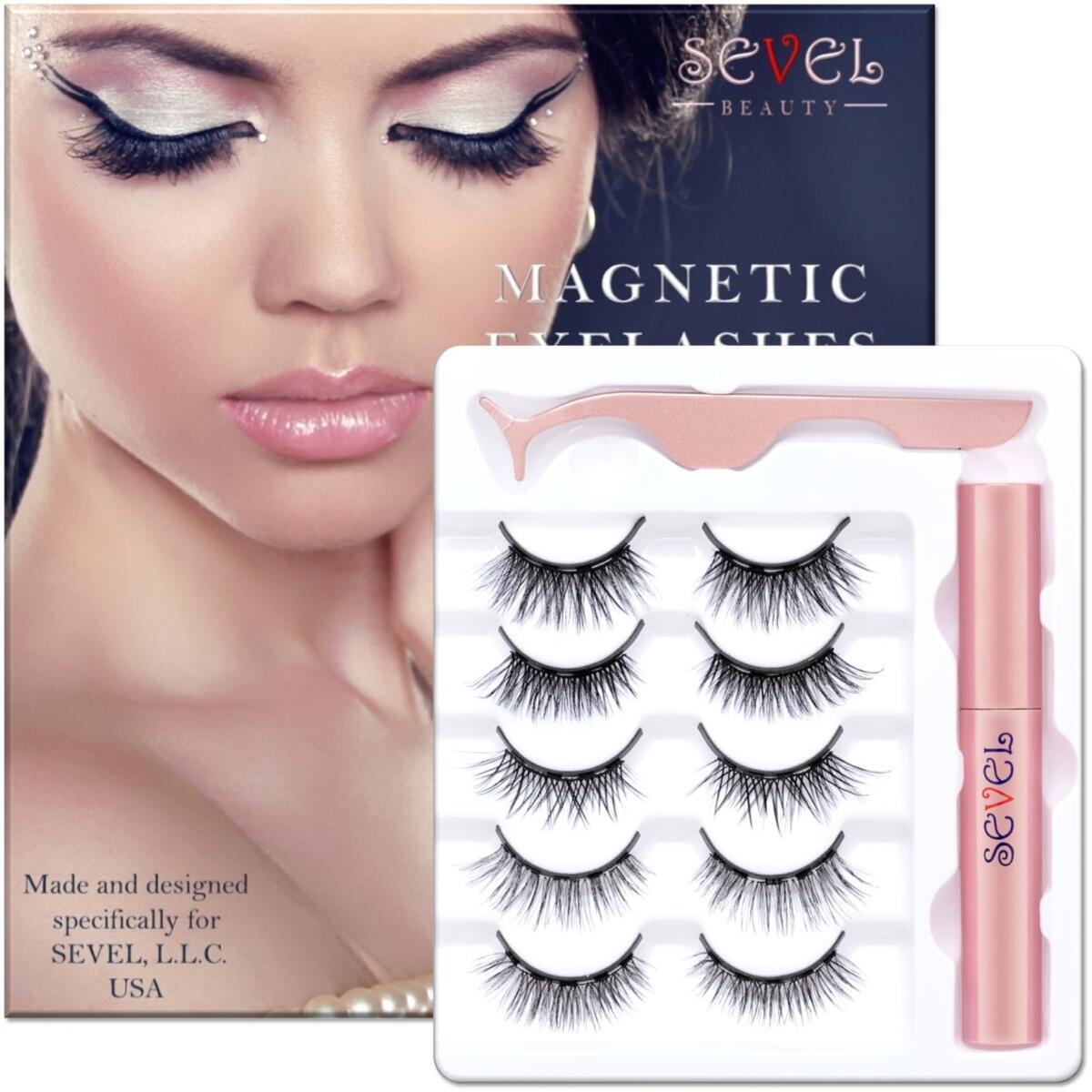 Magnetic Eyelashes with Eyeliner, Natural Look Magnetic Lashes, 5 Pairs Eyelashes Pack by SEVEL