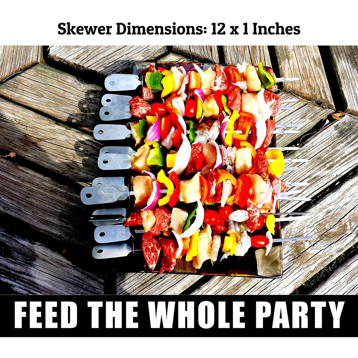 Barbecue Skewers Set - Stainless Steel Wide BBQ Kabob Sticks