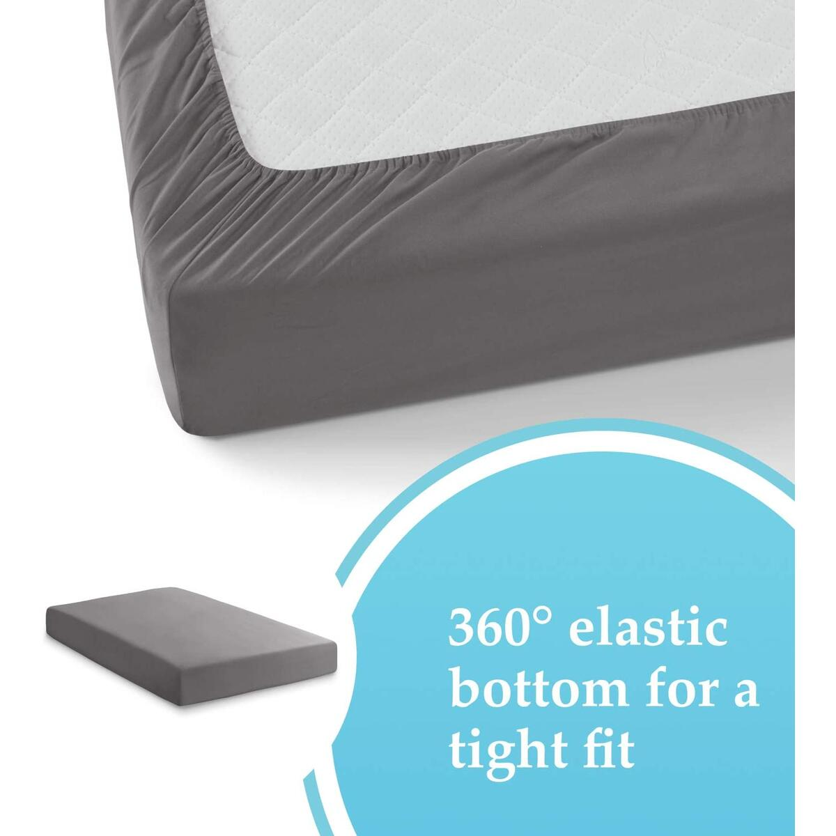 Grey Fitted Sheets Queen Size | Extremely Soft Brushed Microfiber Blend - 360 Elastic Band Bottom Keeps Sheet Secure Even in Heavy Movement | Wrinkle, Shrinking & Color Fade Resistant
