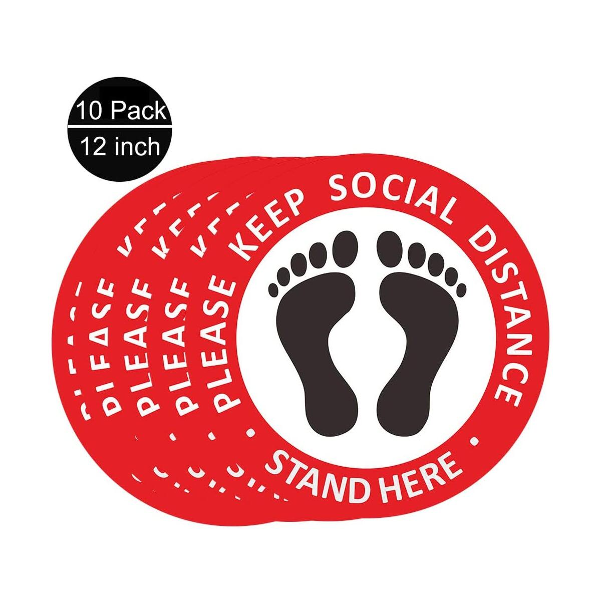 ILamourCar 10 Pieces Social Distancing Floor Decal Stickers, 6 Feet Notice Please Keep Your Social Distance Wait Here Floor Sign for Queues, Easy Installation, 12