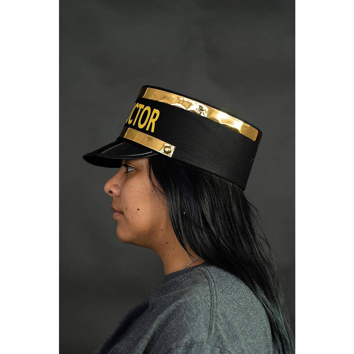 Adult Deluxe Train Conductor Hat - Locomotive Engineer Cap - Costume Accessory, Black Gold, One Size