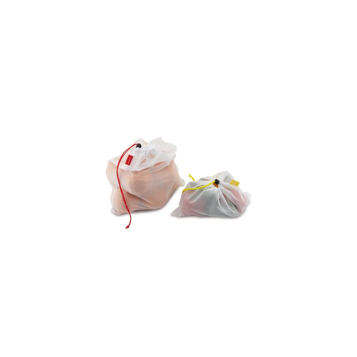Outills Reusable Mesh Produce Bags - See through, Washable Bags - Set of 12 Bags - 3 Different Sizes