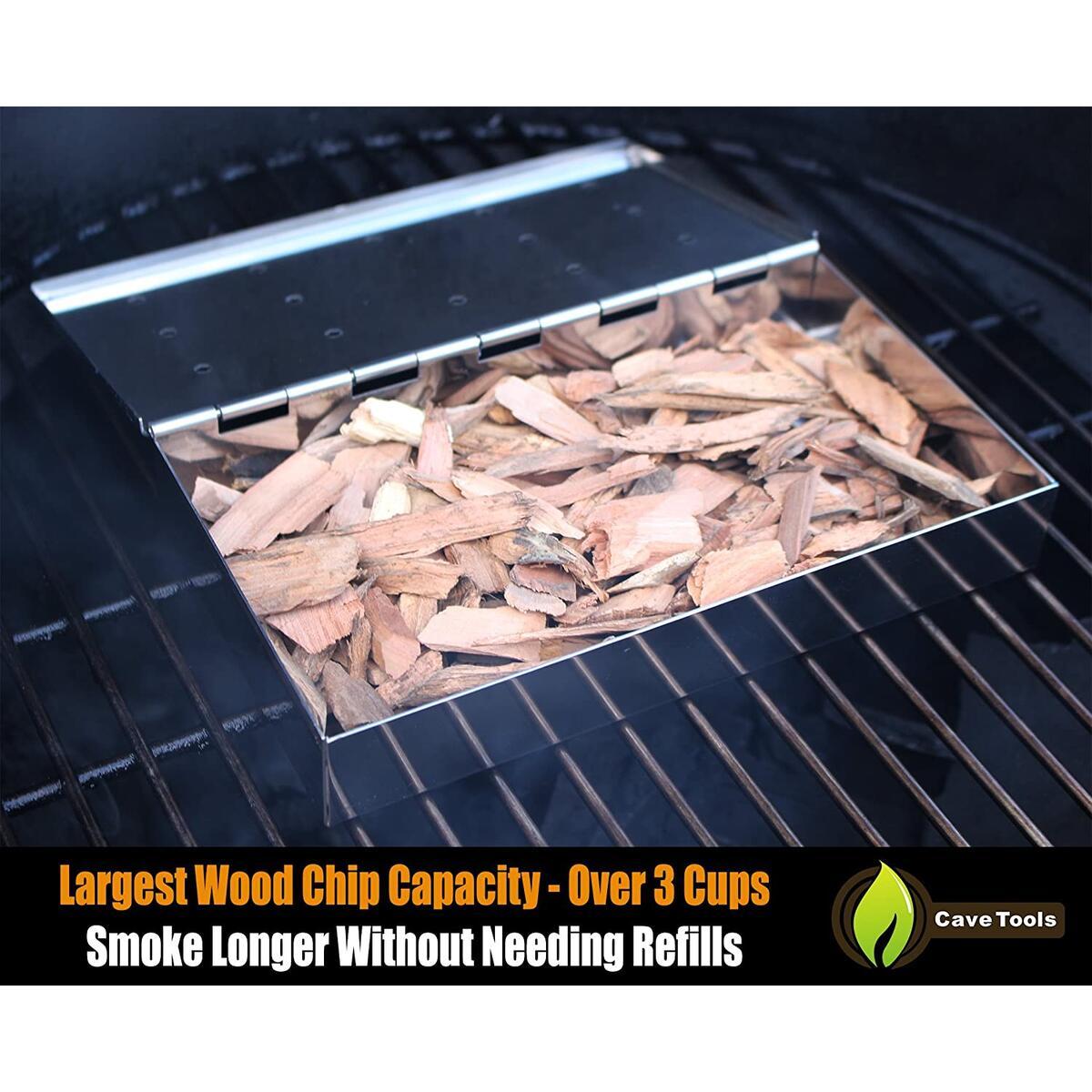 Smoker Box Maximum Wood Chip Capacity - 25% Thicker Stainless Steel