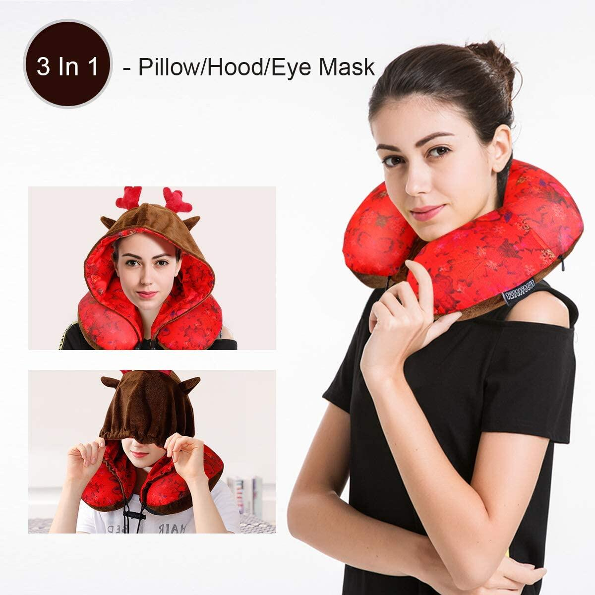 Reindeer Hood Airplane Pillow