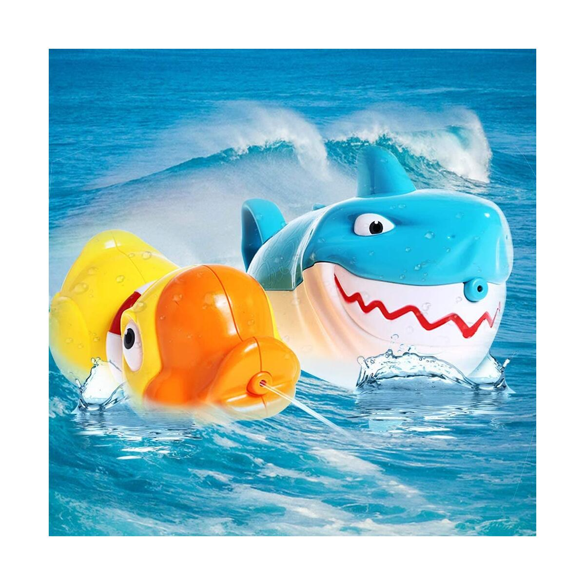 WISHTIME Bath Toys Water Toys Shark Duck Shooter Blaster for Bath Time Bathtub Bathroom Pool Tub Toys for Toddlers Kids Child Boys Girls Age 2 3 4 5 6 7 8 Years Old