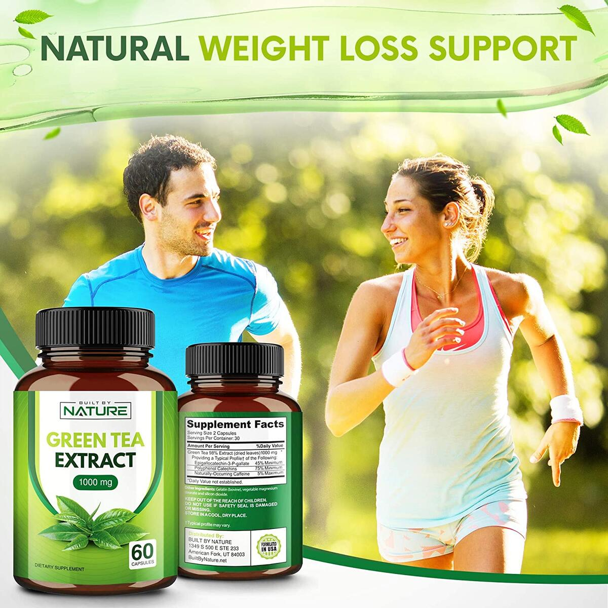 Green Tea Extract 1000mg - Weight Loss Support Supplement with EGCG - 60 Capsules (30 Day Supply)