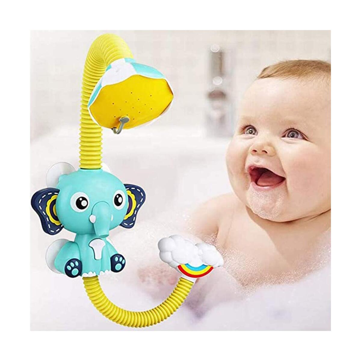 Baby Bath Toys Electric Shower - Sucker Electric Shower Rain Head Kids Bathing Time Toddlers Game Elephant Animal Toy 4 X 1.5V AAA Required (Not Included)