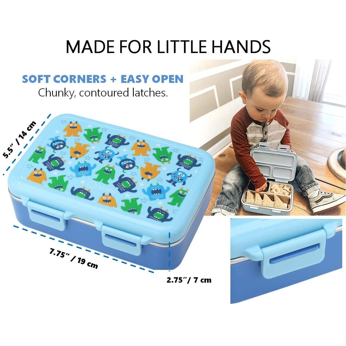 Stainless Steel Toddler Lunch Box for Boys - Blue Monster PRIME ONLY