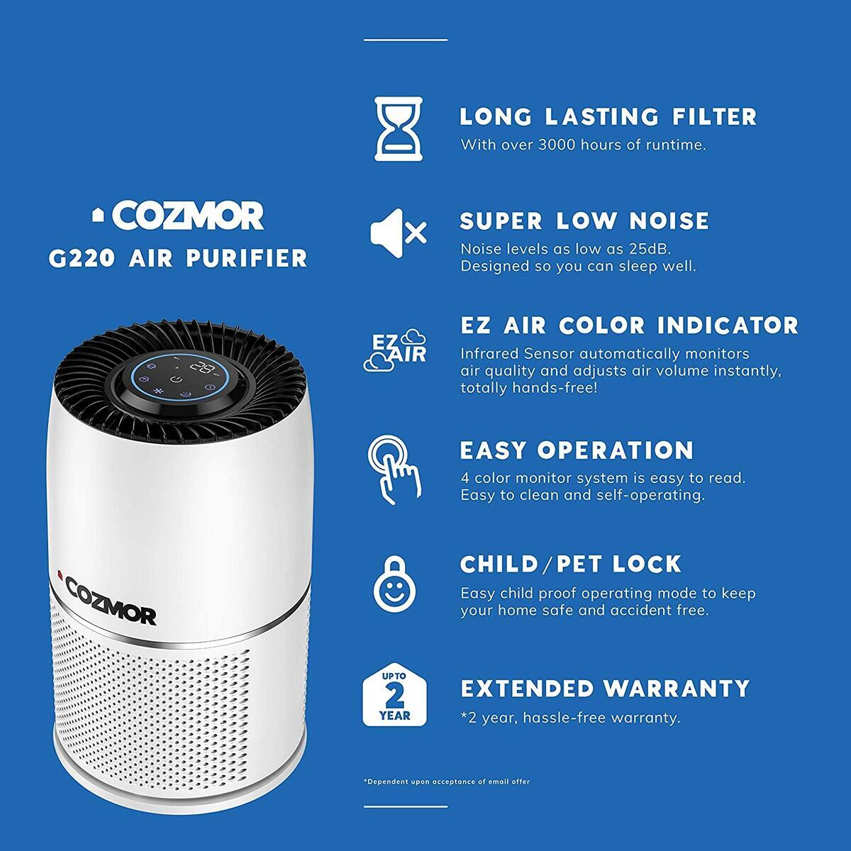 Cozmor 🍃Air Purifier🍃 for Home Large Room with Auto Sensor and HEPA H13 Filter - with CleanFuse Technology,Child and Pet Friendly - Reduces Odors, Mold, Pollen, Smoke and Pet Dander to Improve Indoor Air