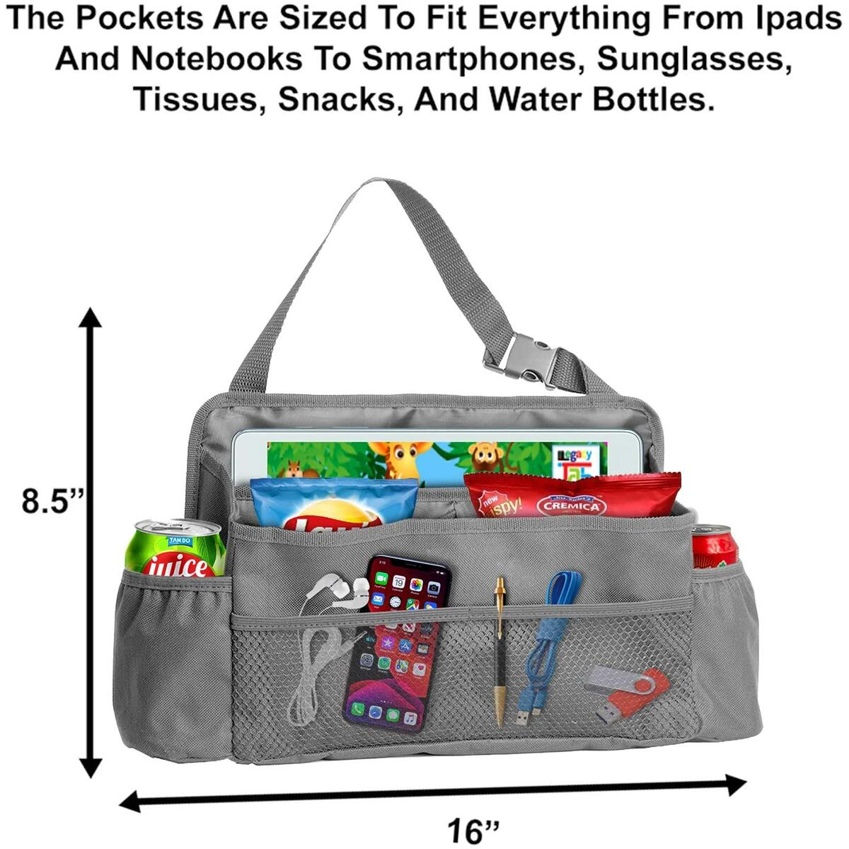 Car Storage Organizer, Passenger Car Seat Caddy Organizer For Office Supplies, Snacks And Toys, Front Or Back Seat Hanging Organizer With A Adjustable Strap, Tote Bag With Large Pockets, Grey