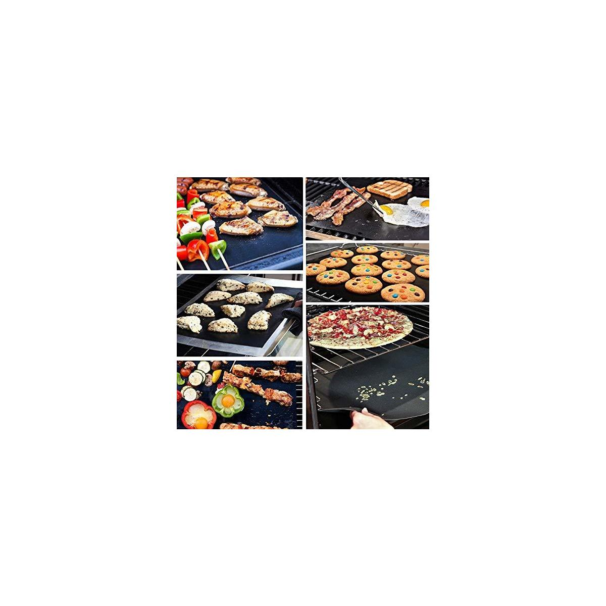 Grill mat Set of 3 - BBQ Grill Mats Non Stick Reusable - Grilling mats for Gas Grill - Baking Pads Nonstick use on Charcoal Electric Grills - Easy to Clean Outdoor Barbeque Grilling Accessories Black