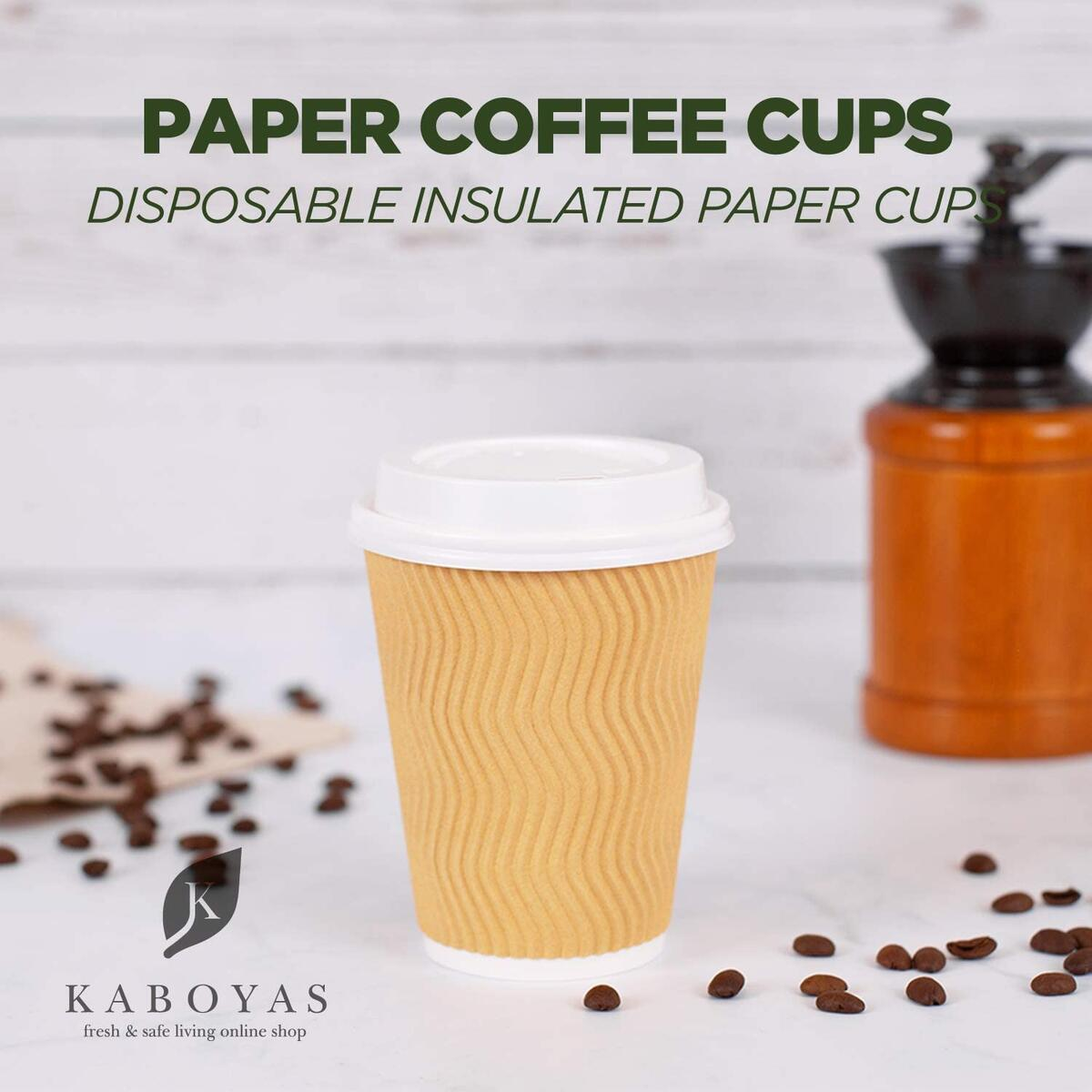 KABOYAS Disposable Paper Coffee Cups with lids (Brown, 12oz, 100 pack)