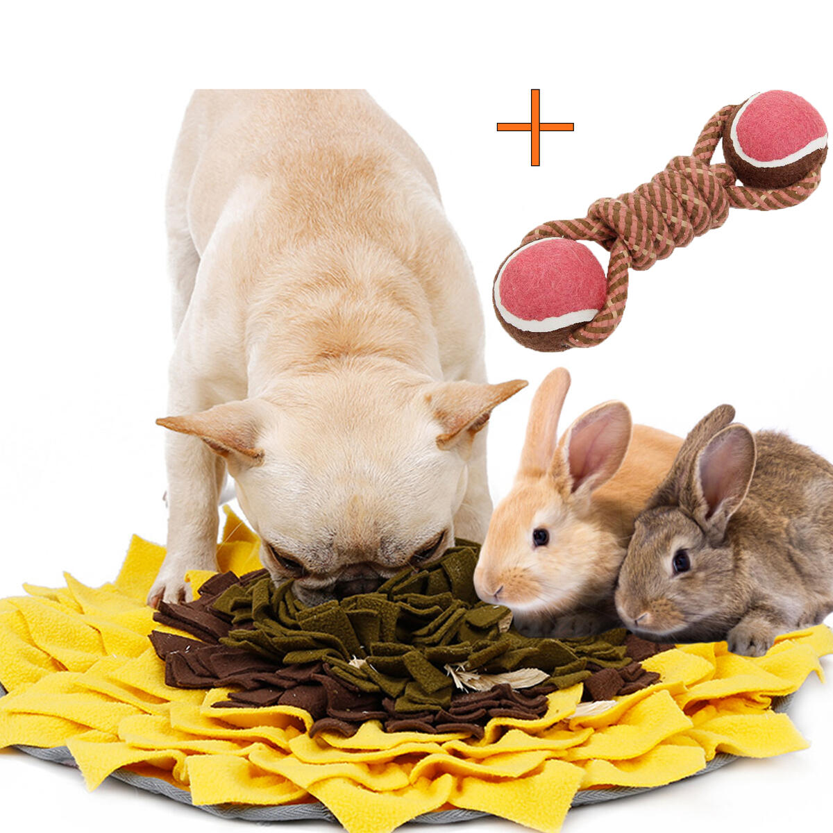 Snuffle Mat for Dogs Feeding Mat with 2 in 1 Chew Throwing Toy Interactive Dog Food Puzzle Encourages Natural Foraging Skills for Puppies, Cats, Rabbits, Guinea Pigs, Ferrets, Chinchillas, Rats