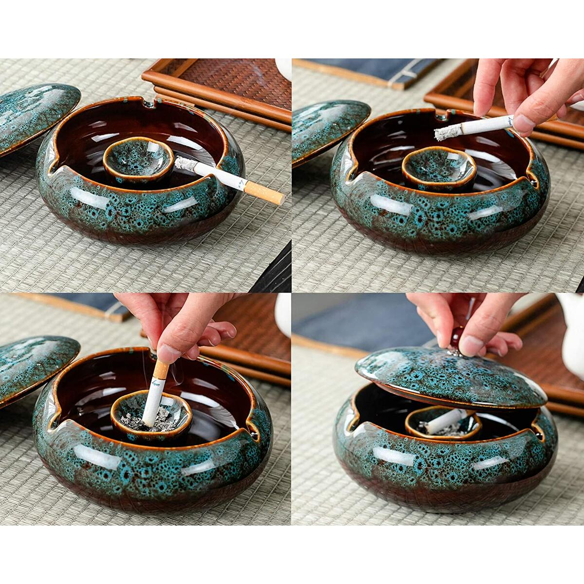 Outdoor Ashtray for Patio with Lid 5.7-inch Large Ceramic