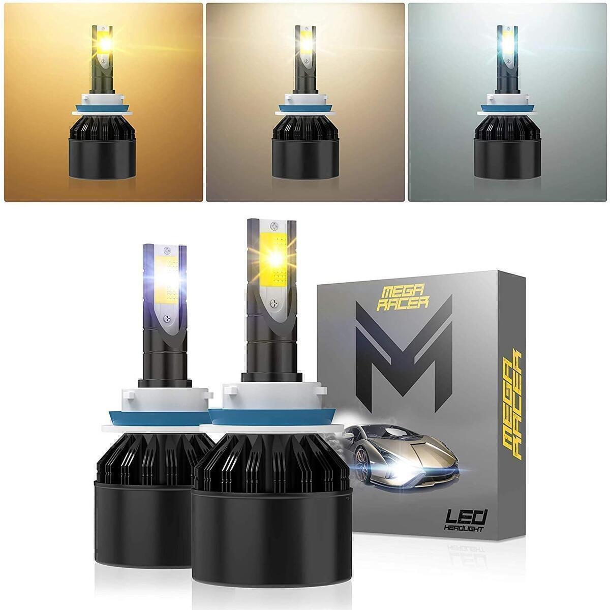 Mega Racer H11/H8/H16 Fog Light LED Headlight Bulbs, 3 Changeable Colors for Fog Light Replacement Bulb (6000K Diamond White, 3000K Golden Yellow, 4300K Warm White), 50W 8000 Lumen COB IP68, Pack of 2
