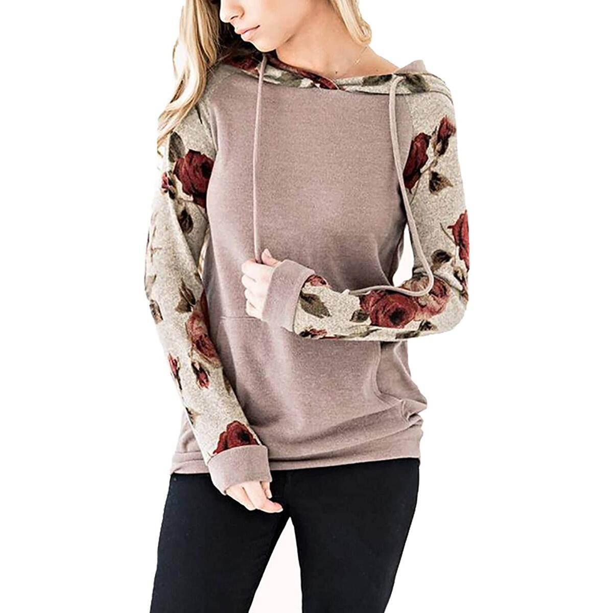 Minipeach Women's Pullover Long Sleeve Hoodies Coat Loose Casual Sweatshirts with Pocket Coffee