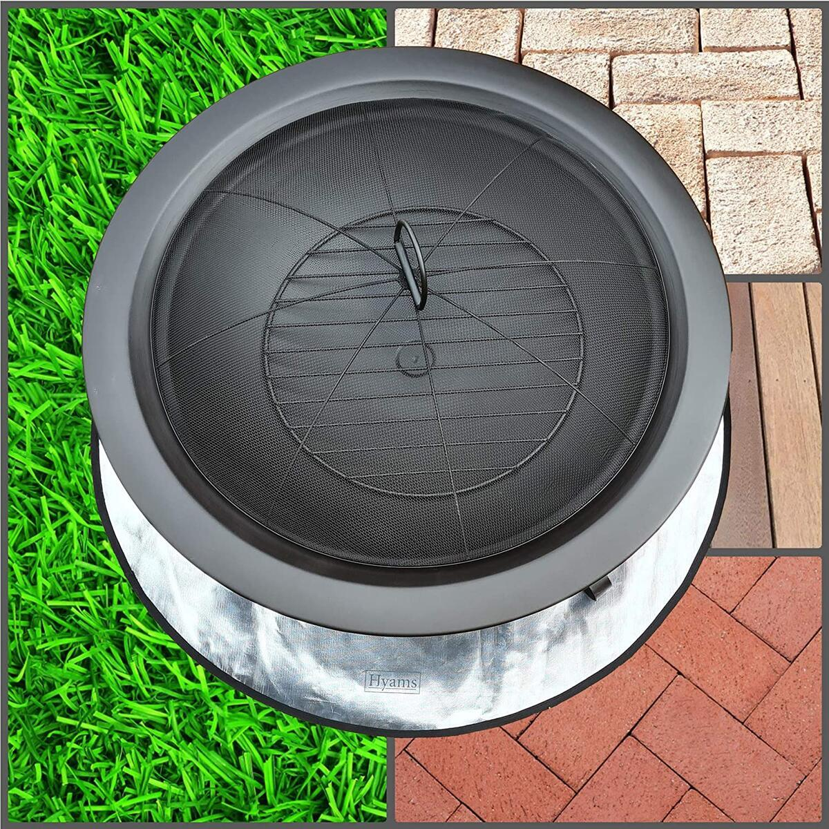 HYAMS Fire Pit Pad Mat Round 36 Inch with Storage Bag, Under Grill Chiminea BBQ Mat, Deck, Lawn, Grass, Patio Protector, Heat Resistant Shield Pad, Firepit Accessory for Outdoors