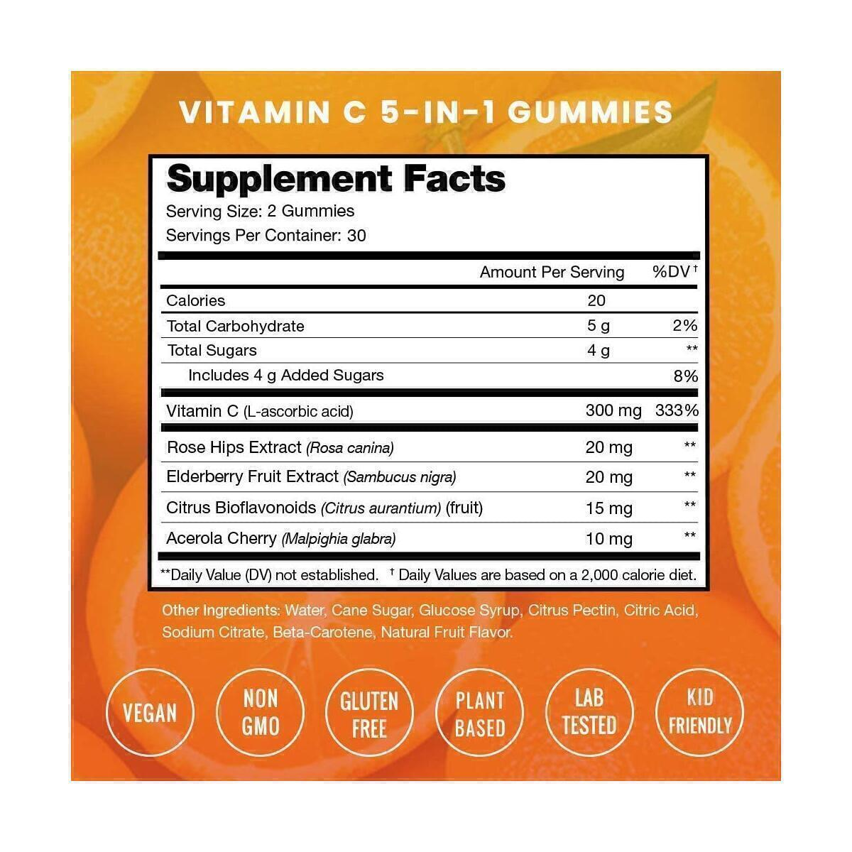 Vitamin C Gummies for Kids & Adults - Immune System Support Vit C Chewable Gummy - Immunity Booster Supplement with Elderberry, Rosehips, Citrus Bioflavonoids & Acerola Cherry - Natural, Vegan Non-GMO