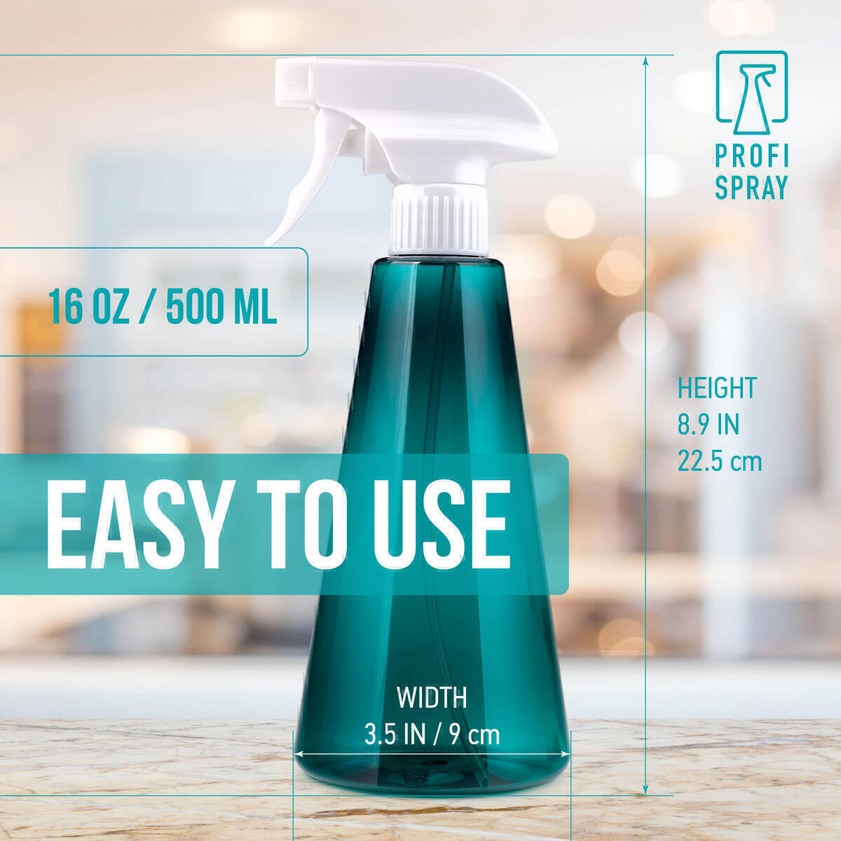 Empty Plastic Spray Bottles 16 oz 500 ml (3 Pack) - Refillable Trigger Sprayer with Off, Mist and Stream Modes for Gardening, Watering Plants, Hair Face Care, Aromatherapy, Cleaning Products