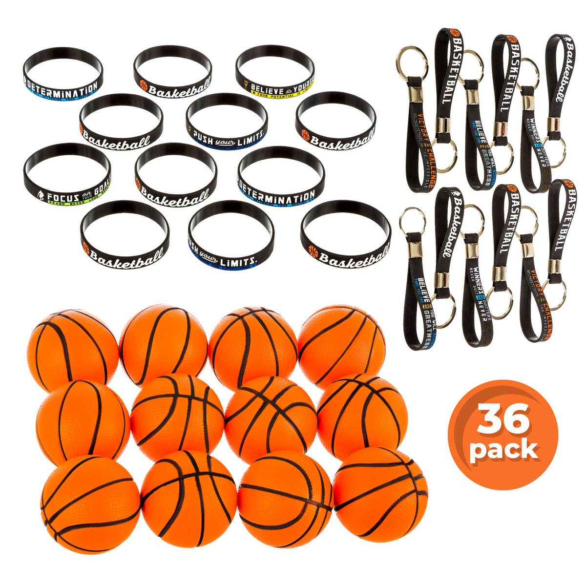 GRANNUS Basketball Party Favors,Pack of 36 Basketball Gifts Including 12x Motivational Silicone Bracelets,12x Squishy Stress Balls and 12x Keychains with Quotes,School Team Birthday Gifts