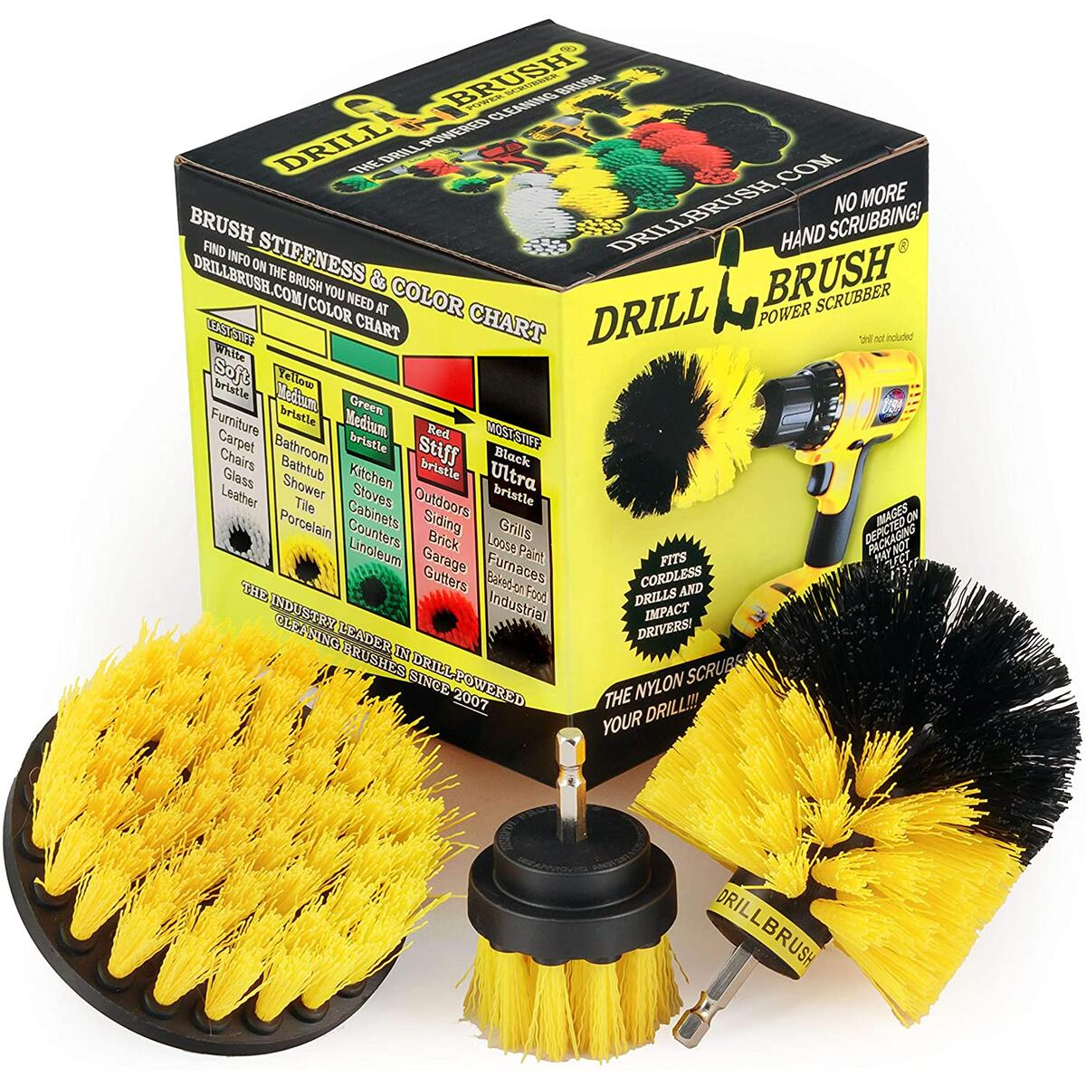 (All Purpose Medium-Yellow) Bathroom Surfaces Tub, Shower, Tile and Grout All Purpose Power Scrubber Cleaning Kit