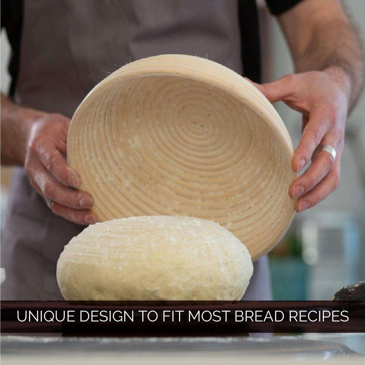 Round 9 Inch Bread Banneton Proofing Basket and Linen Liner. Handmade Dough Rising Rattan bowl. For Professionals and Home Bakers