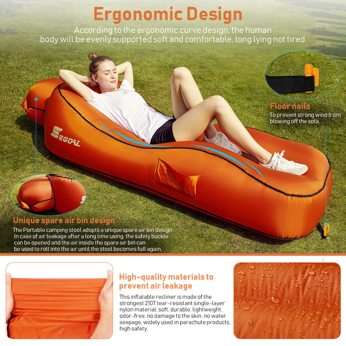 Ergonomic Inflatable Lounger Beach Bed Camping Chair Air Sofa Couch Hammock with Pillow, Waterproof Anti-Air Leaking Single Layer Nylon Fabric for Hiking Travel Beach Park, No Pump Required
