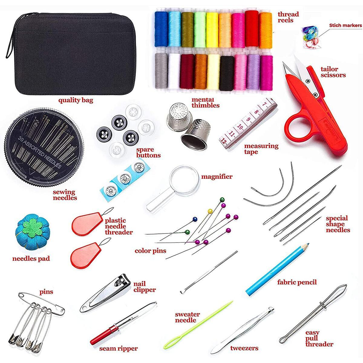 MYFOXI Sewing Kit for Adults, Kids, Travel, Home, Sew Repair - 140pc Accessories Mini Set in Zippered Soft Cloth Pouch with Thread and Needle, Stitch Ripper, Buttons, Safety Pins, Zippered Organizer