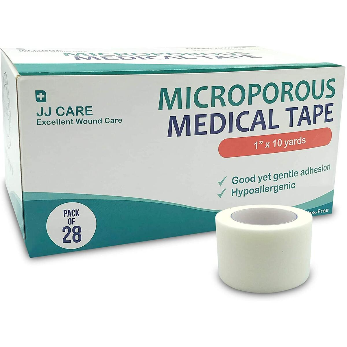 JJ CARE [Pack of 28] Micropore Tape, Medical Paper Tape 1 inch x 10 Yards, Hypoallergenic Paper Surgical Tape, Microporous Tape, Latex Free Adhesive for First Aid Supplies