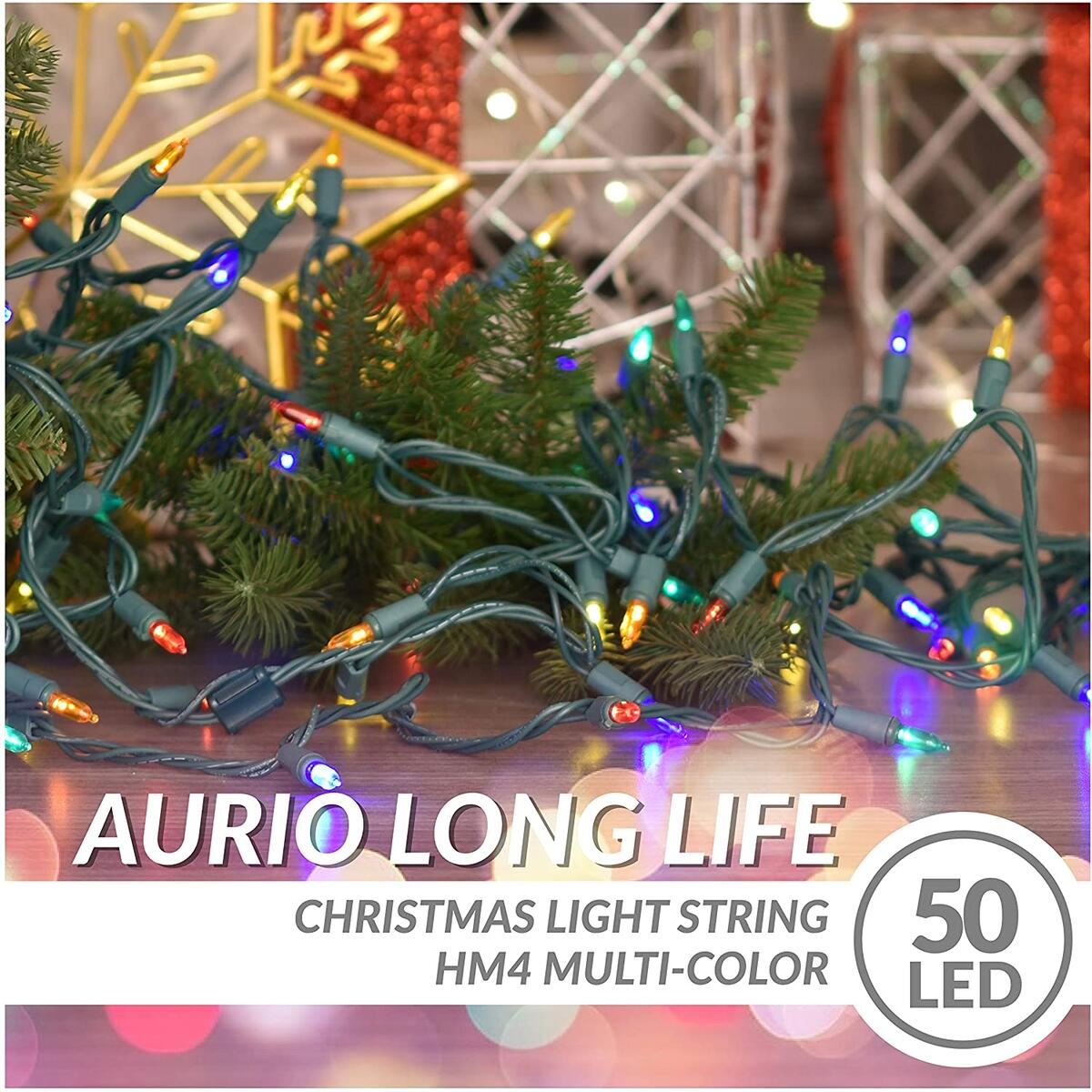 Aurio Christmas Lights Multicolor, 12 ft. 50-Count LED End-to-End Connectable Mini Christmas String Lights, Light Strings for Party, Wedding, Indoor & Outdoor Christmas Tree Decoration, Multi Color