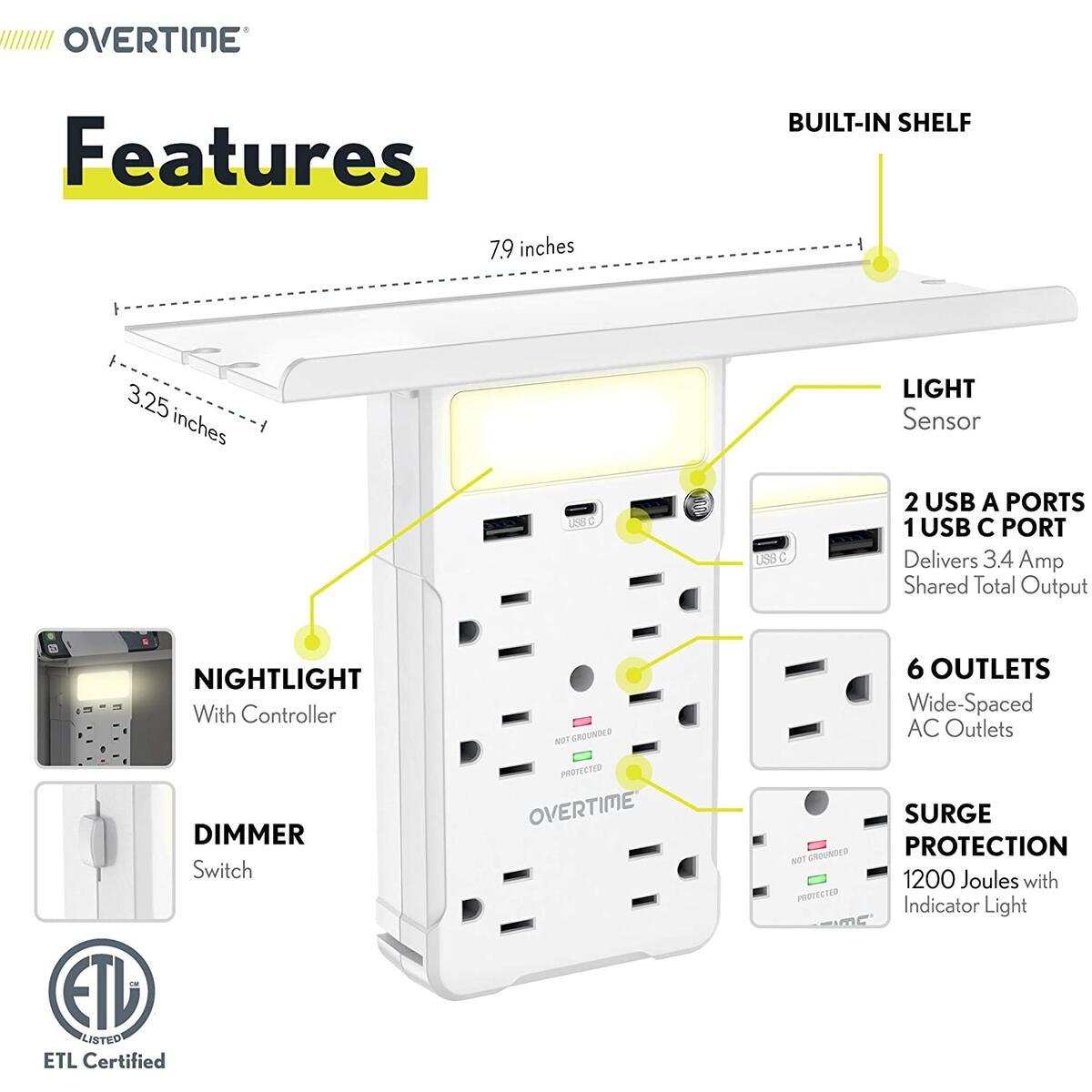 Socket Shelf: USB-C Port, 2x USB-A Ports, 6x AC Outlets, Night Light, Organization Shelf